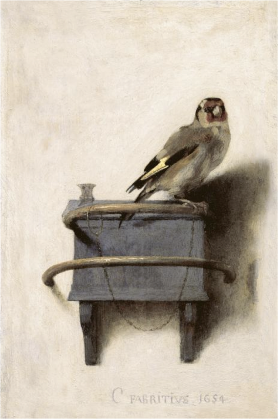 Carel Fabritius (1622-1654)The Goldfinch, 1654Oil on panel13 ¼ x 9 in. (33.5 x 22.8 cm)Royal Picture Gallery Mauritshuis, The Hague